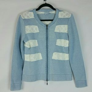 Blue Willi's double zip blue w white stripe cardig